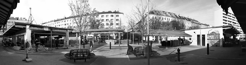 panoramafoto von der baustelle am vorgartenmarkt, aufgenommen im november 2012