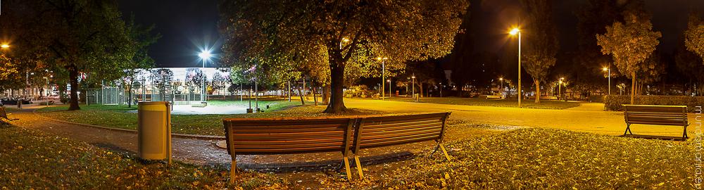 im märzpark an einem herbstlichen abend